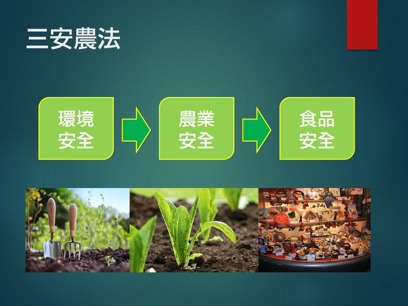 符合三安農法即環境安全、農業安全、食品安全